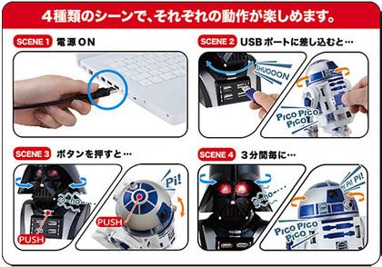 スターウォーズ USBハブ R2-D2型/ダース・ベイダー型