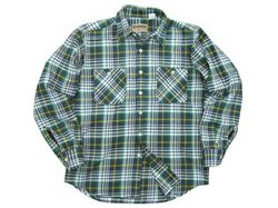 CAMCO MFG Heavyweight Flannel Check Shirts Nvy/Grn/Wht